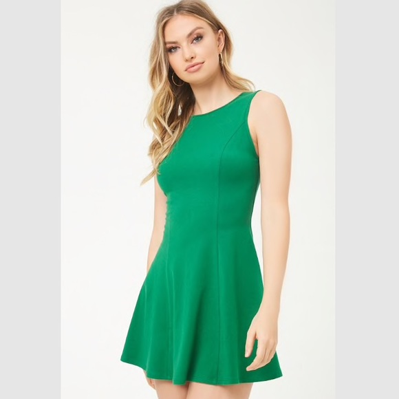 Forever 21 Dresses & Skirts - NWT Green Forever21 Mini Dress Skater Fit Flare